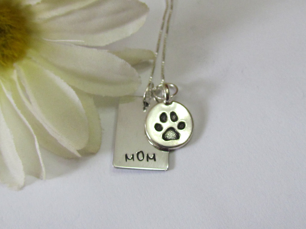 Mom Necklace with Paw Print