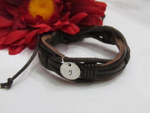 Initial Boys Leather Bracelet