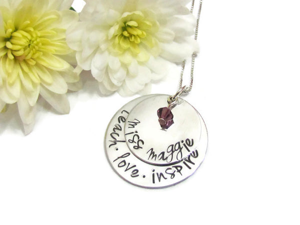 teach love inspire - Teacher Necklace