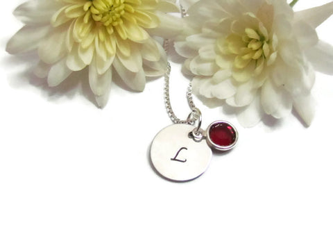 Dainty Initial & Birthstone Necklace