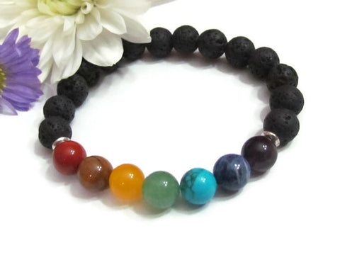 Chakra Lava Bracelets Men or Women