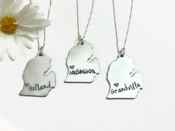 Michigan State City Necklace -Rockford or your city