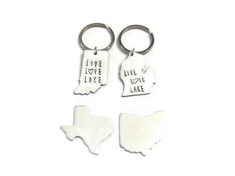 "State Keychain ""Any State Shape"" Live Love Lake"