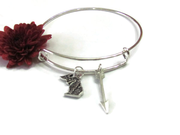 Michigan Map & Arrow Bracelet