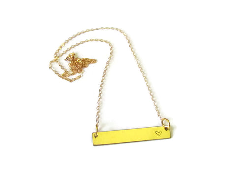 Bar Necklace - Gold Heart