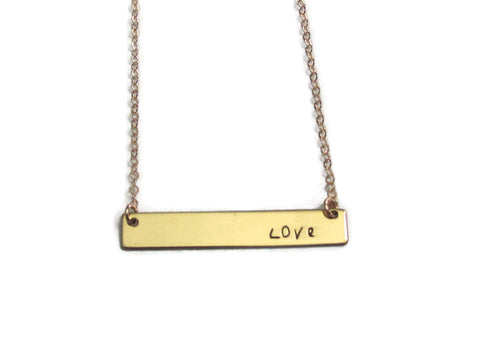 Bar Necklace - Gold Love