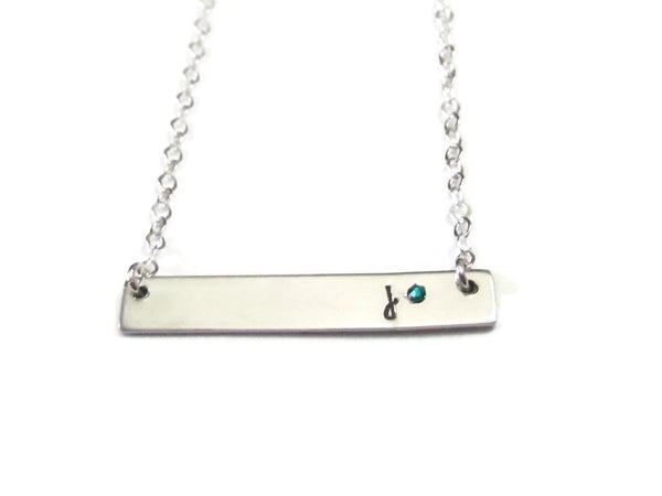 Bar Necklace - Initial & Birthstone
