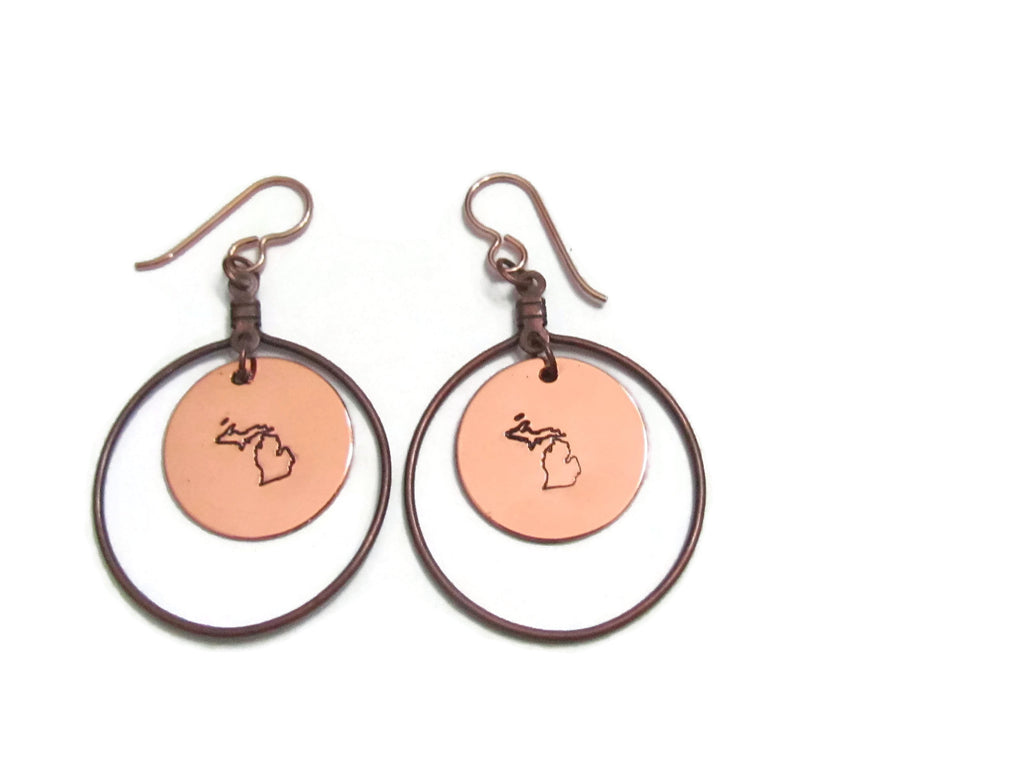 Michigan Copper Loop Earrings