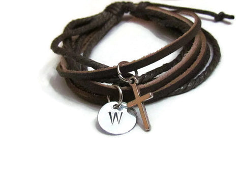 1st Communion Leather Bracelet