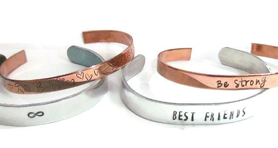 Example of Copper & Aluminum Cuff Bracelets together.