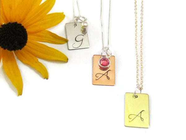 Initial Rectangle Necklace