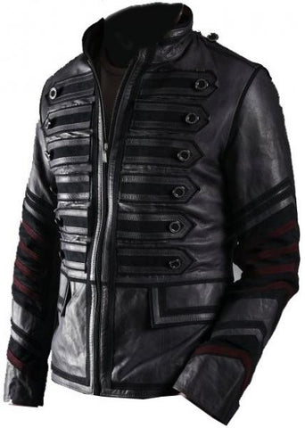 Black Military Men Leather Jacket - AugustusMan