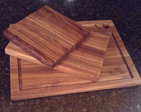 "Handcrafted Walnut Board set of 3-8""x8"",8""x12"",13""x16"""