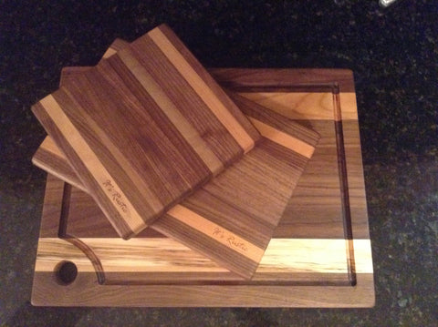 "Handcrafted Walnut Cherry strip Board set of 3-8""x8"",8""x12"",13""x16"""
