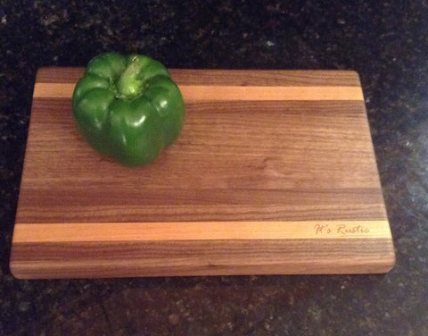 "Handcrafted Walnut - Cherry Cutting Board 8"" x 12"""