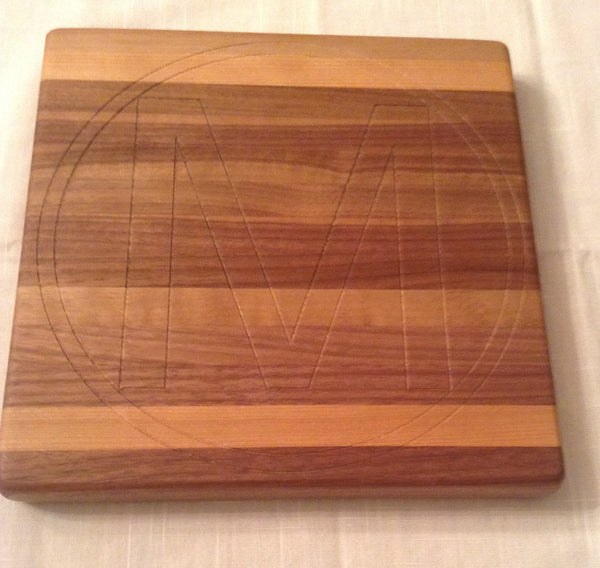 "Handcrafted Hard Maple Cheese Board 8"" x 8"" Monogram-Carved"