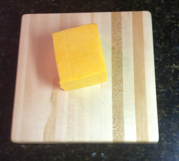 "5 Piece Soft, Semi-Hard, and Hard Cheese Cutter and Board Set Maple 8"" x 8"""