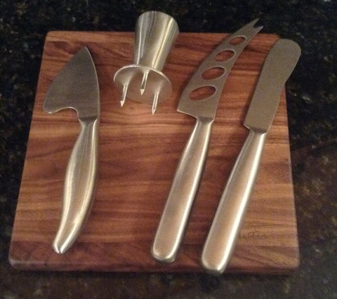 "5 Piece Soft, Semi-Hard, and Hard Cheese Cutter and Board Set Walnut 8"" x 8"""