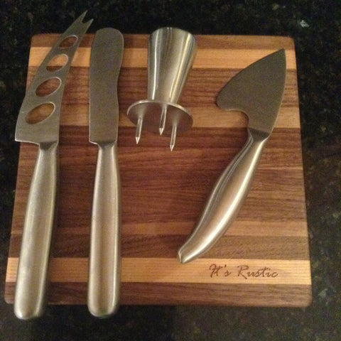 "5 Piece Soft, Semi-Hard, and Hard Cheese Cutter and Board Set Walnut/Cherry 8"" x 8"""