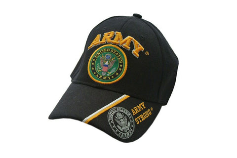 U.S. ARMY EMBLEM WITH SHADOW EMBLEM ON BLACK CAP