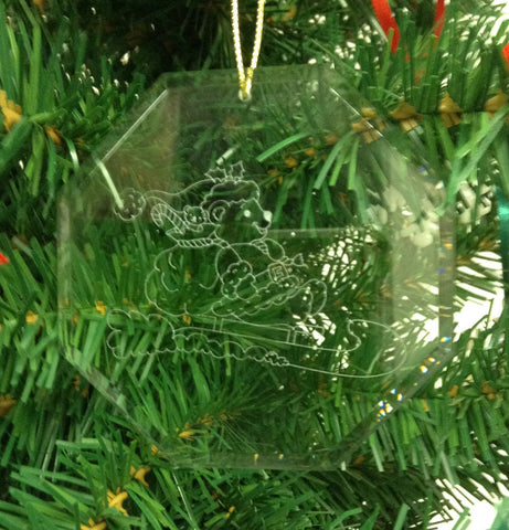 Crystal Glass Ornament  Bear-Sleigh