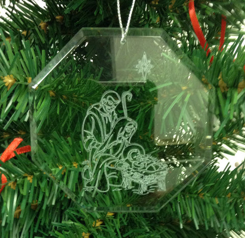 Crystal Glass Ornament Christmas Nativity