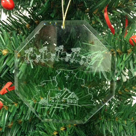 Crystal Glass Ornament Christmas Santa - Nativity