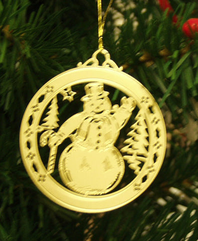 Personalized Snowman High Polished Brass Custom Christmas Ornament