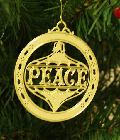 Personalized Peace High Polished Brass Custom Christmas Ornament