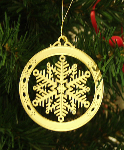 Personalized Snowflake High Polished Brass Custom Christmas Ornament