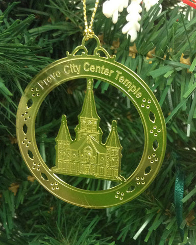 Personalized Provo City Center Temple High Polished Brass  Custom Christmas Ornament