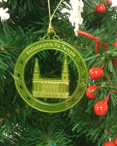 Personalized Philadelphia PA Temple High Polished Brass  Custom Christmas Ornament
