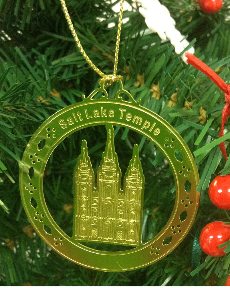 Personalized Salt Lake Temple High Polished Brass  Custom Christmas Ornament