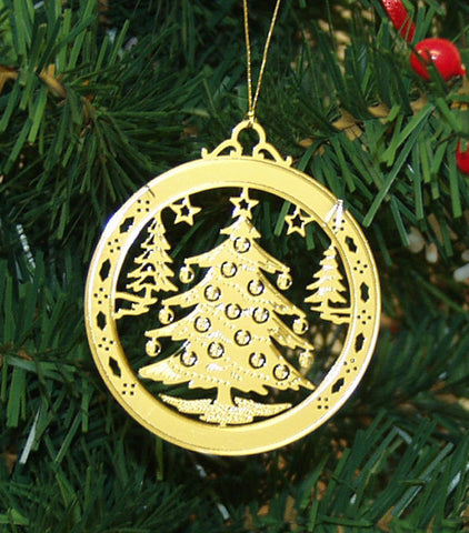 Personalized Christmas Tree High Polished Brass Custom Christmas Ornament