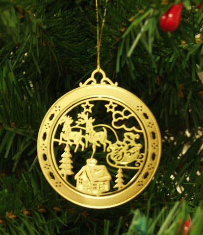 Personalized Santa Sleigh High Polished Brass Custom Christmas Ornament