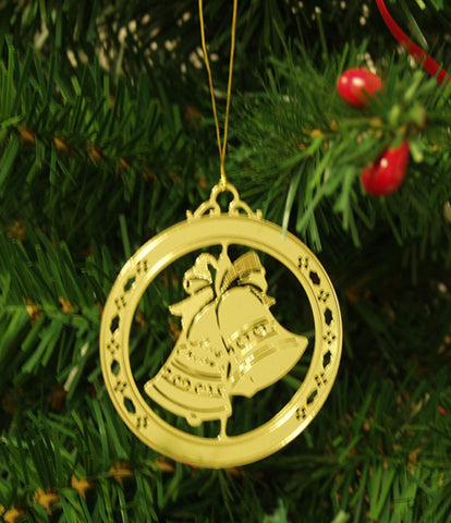 Personalized Bell-with Bow High Polished Brass  Custom Christmas Ornament