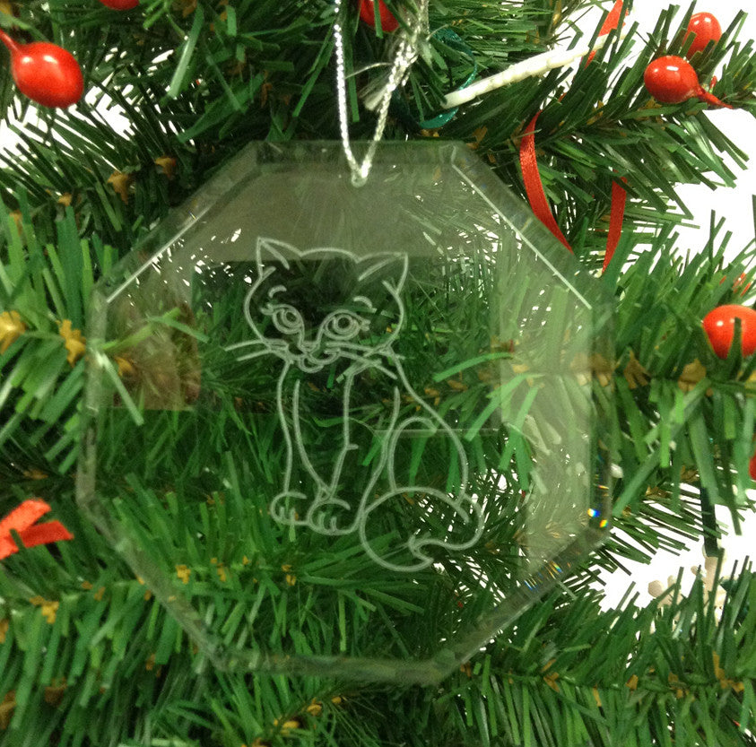 Crystal Glass Ornament Octagon - Cat