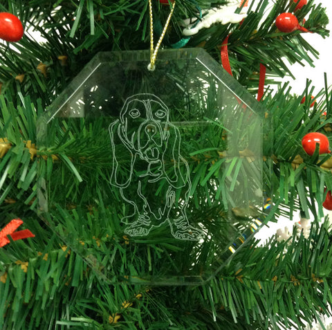 Crystal Glass Ornament Octagon - Dog