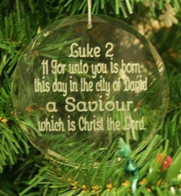 Crystal Glass Ornament Christmas Luke 2:11