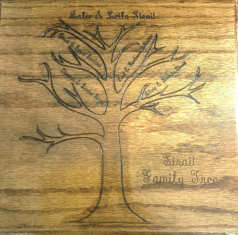 Family Tree Carved Oak Wood