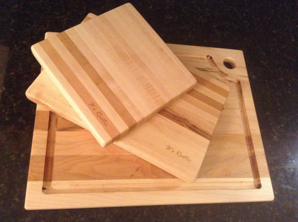 "Handcrafted Hard Maple Board set of 3-8""x8"",8""x12"",13""x16"""