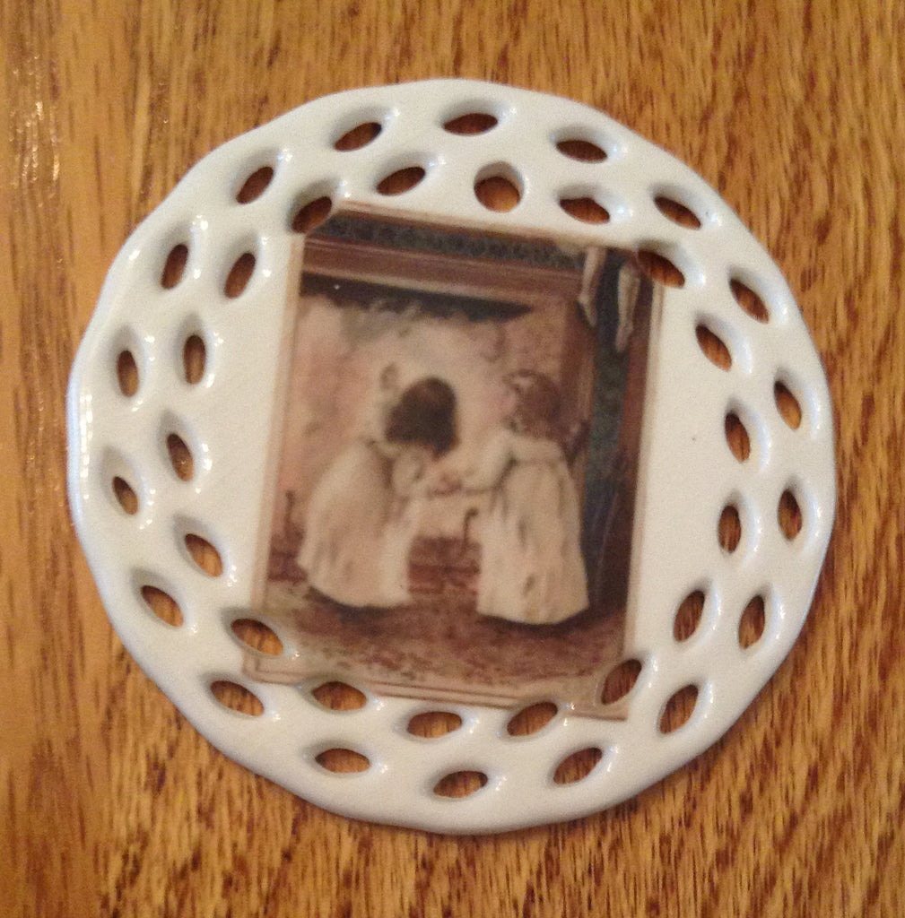 Porcelain Vintage Image Christmas Ornament- Fireplace Children