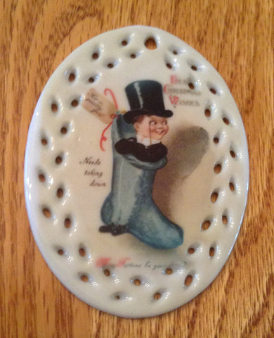 Porcelain Vintage Image Christmas Ornament- Puppet Stocking