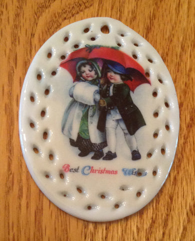 Porcelain Vintage Image Christmas Ornament-Man-Woman Oval Lace