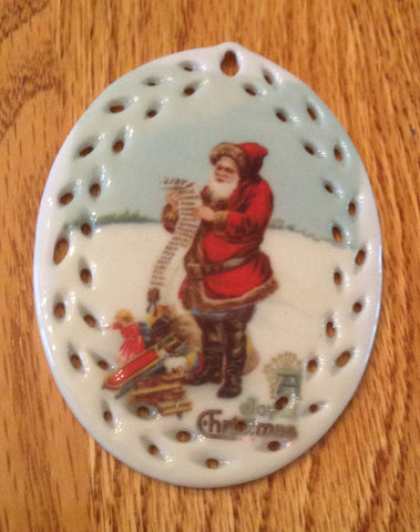 Porcelain Vintage Image Christmas Ornament-Santa Check List Oval Lace