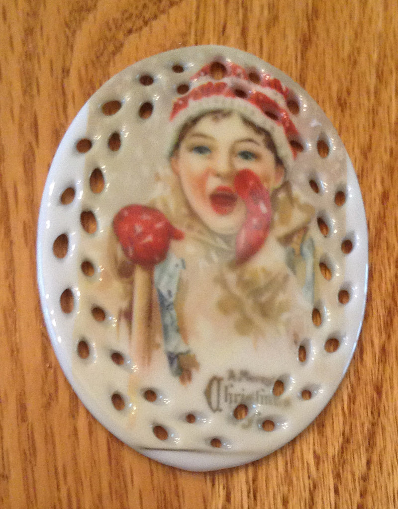 Porcelain Vintage Image Christmas Ornament-Girl Calling Oval Lace