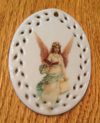 Porcelain Vintage Image Christmas Ornament-Angel Oval Lace