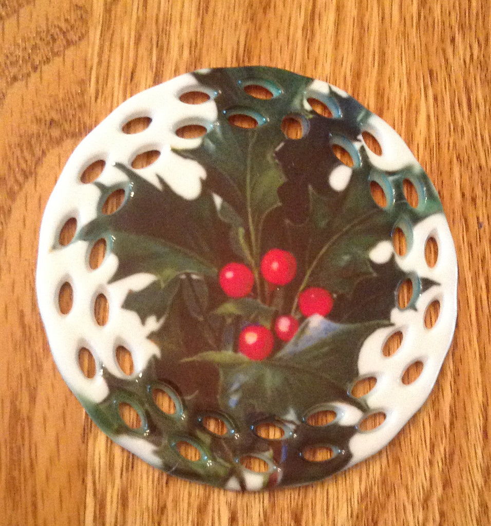 Porcelain Vintage Image Christmas Ornament- Holly Leaf Round Lace