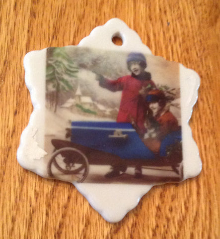 Porcelain Vintage Image Christmas Ornament-Girls Old Peddle Car Snowflake