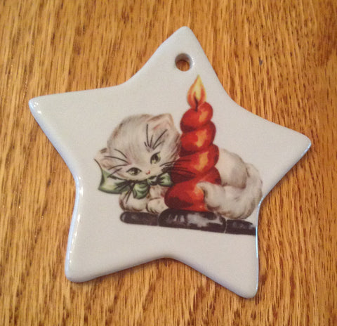 Porcelain Vintage Image Christmas Ornament-Cat Candle Star